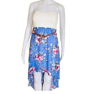 ARDENE Floral Lace Belted Hi Lo Dress Blue Small
